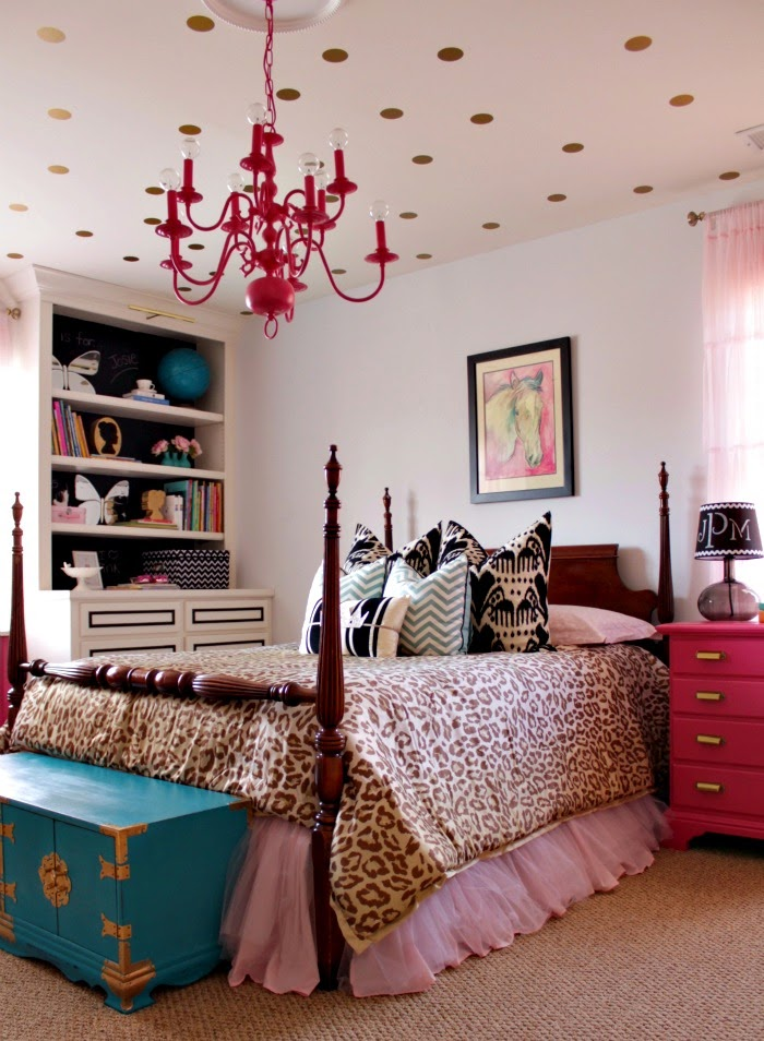 pink and turquoise girl's room with leopard bedding and gold polka dot ceiling