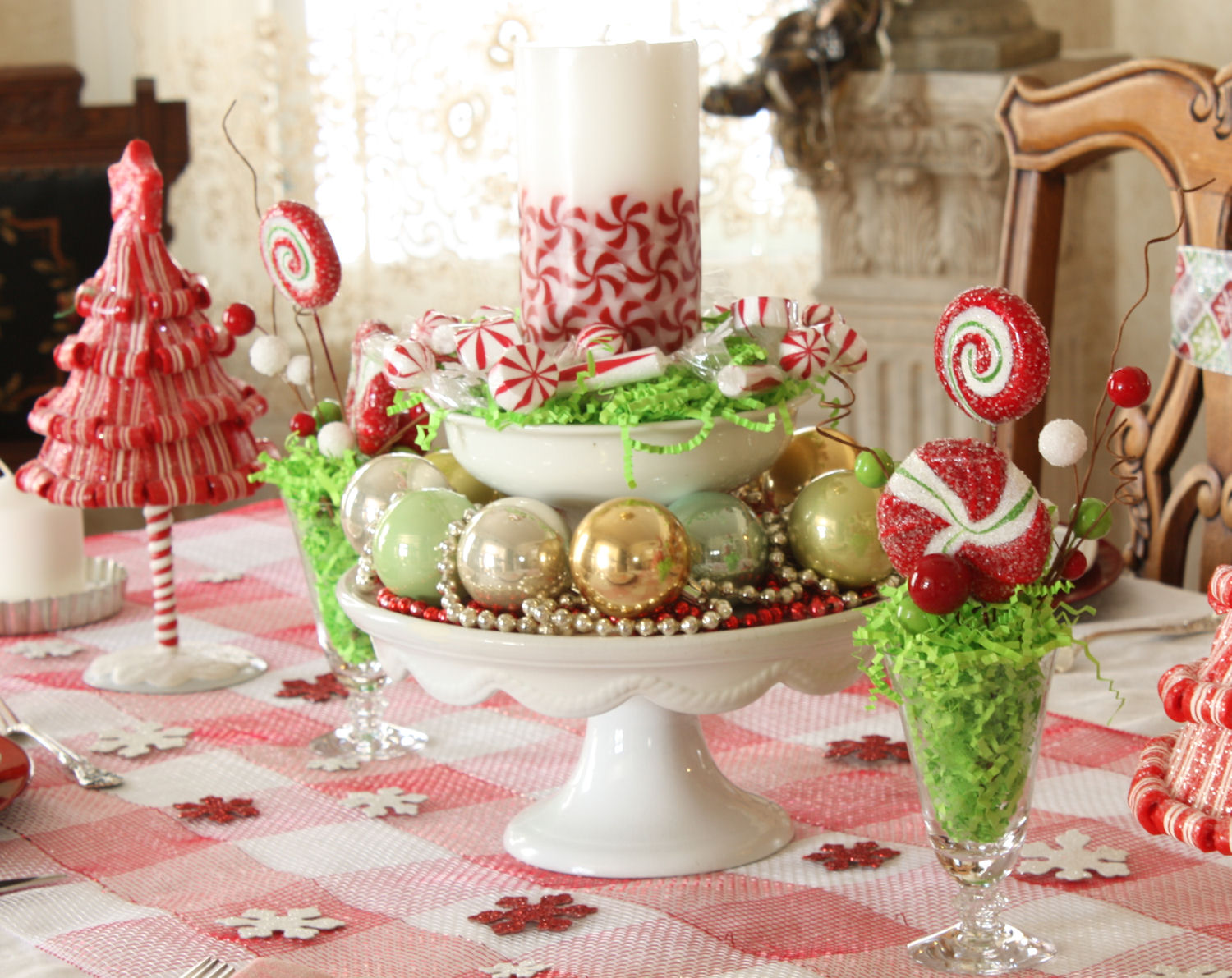 French laundry christmas peppermint tablescape