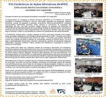 Pré-Conferência de Ações Afirmativas da UFES - 28 de novembro - Auditório CCE.