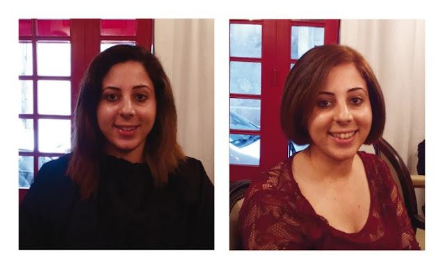 Avant / Après visite de Rim au Studio 54, salon de coiffure à Montpellier, réalisation de la coloration et de la coupe par Eddy, coiffeur- visagiste à Montpellier.