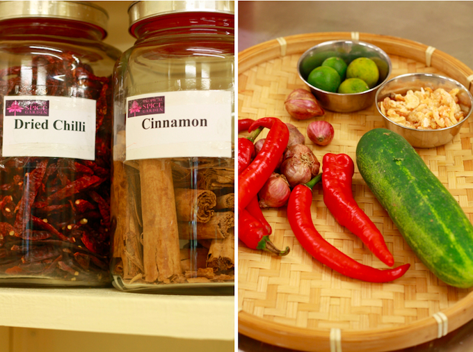 dried red chili, ceylon cinnamon, fresh red chili, cucumber, shallots