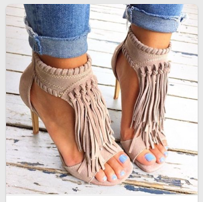 taupe fringe heels  with skinnies