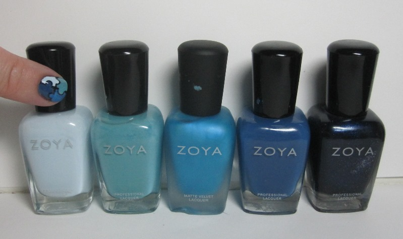 Bottle shot:  All Zoyas - Blue, Rocky, Phoebe, Edie, and Indigo.