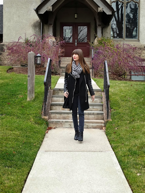 house of jeffers #ootd leather and wool coat forever21, houndstooth infinity scarf | www.houseofjeffers.com