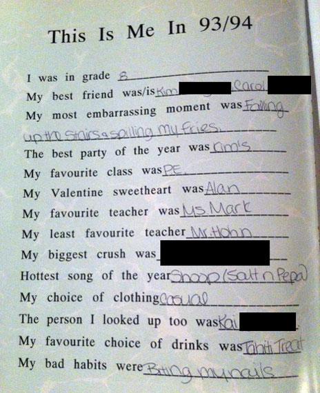 High school crush quiz