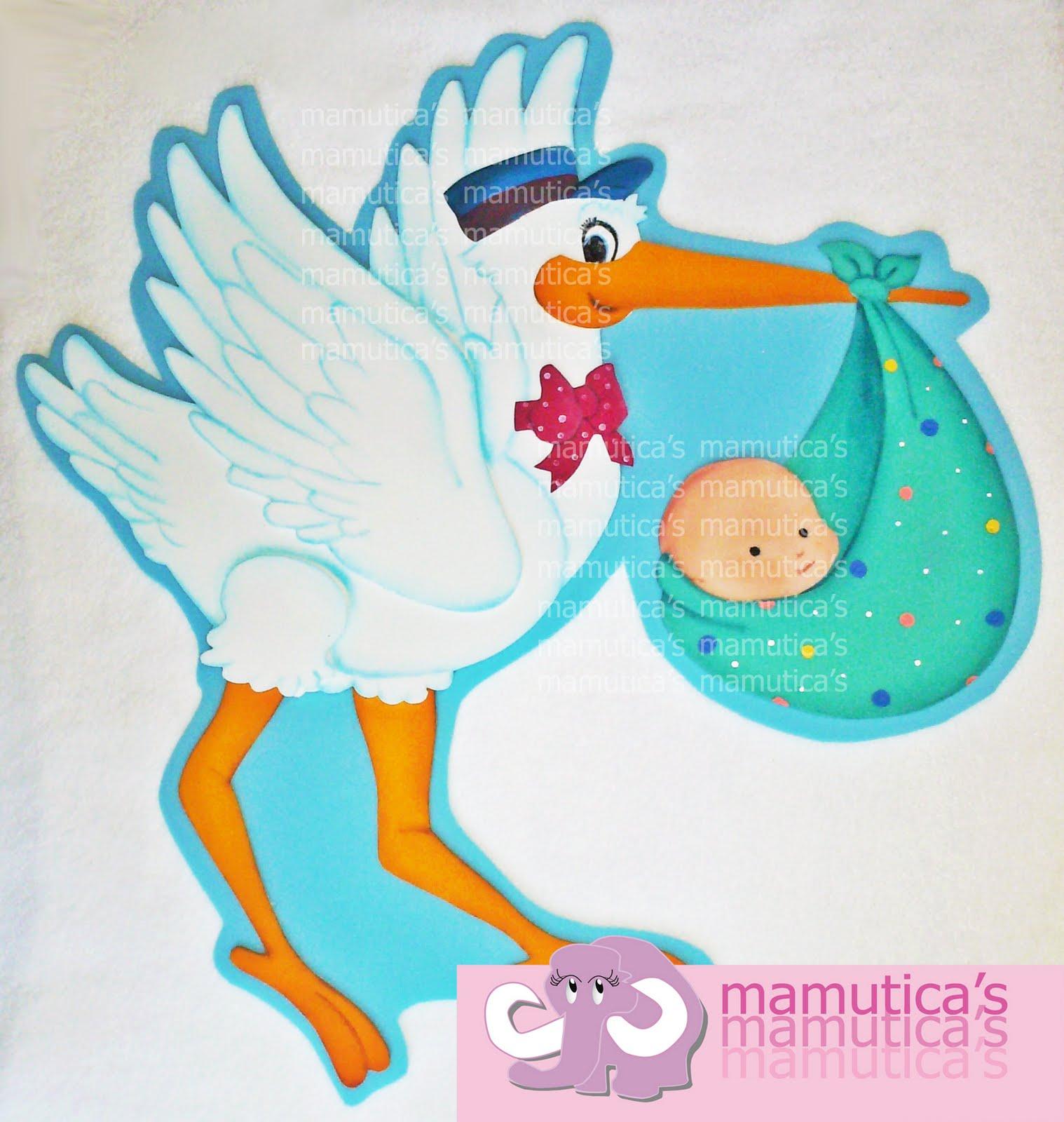 Cigueña con bebé en foami para baby shower - Imagui