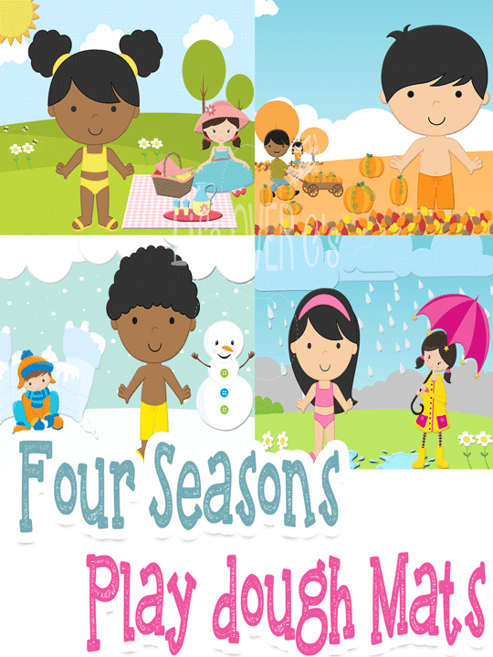 Play dough mats for the four seasons