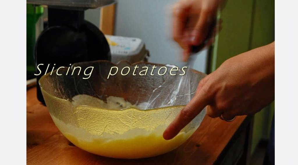 slicing potatoes