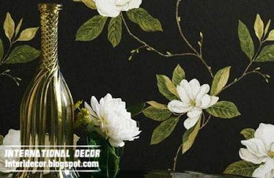 floral wallpaper and wall coverings black design, patterned wallpaper 2015