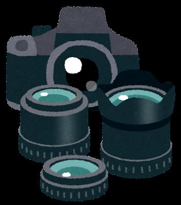 一眼レフカメラとレンズのセットのイラスト