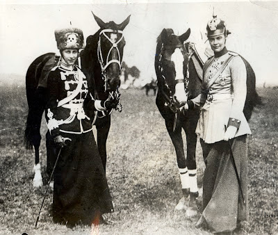 ... here on the left in the garb of the death s head hussars famed german