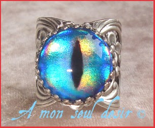 Bague oeil yeux dragon serpent reptile chat medieval fantaisy cat snake eye ring