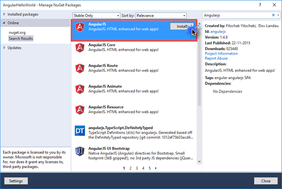 AngularJS Nuget Package Manager