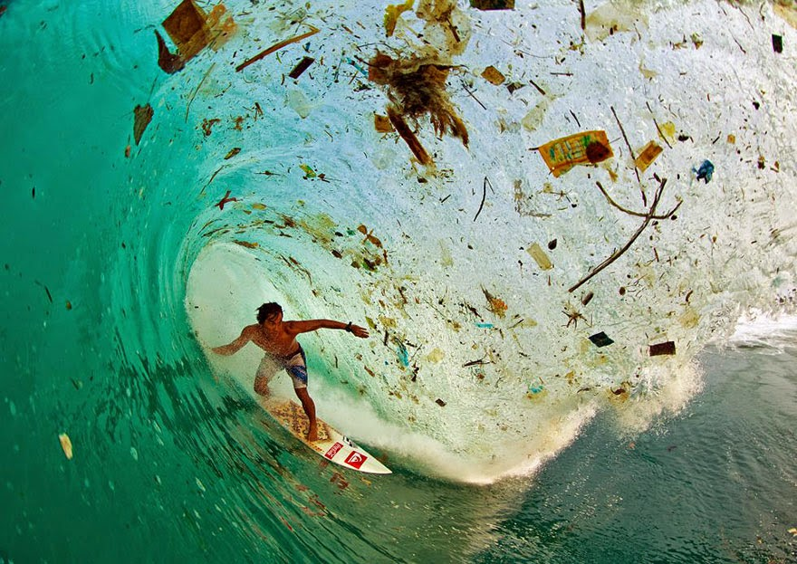 #6 Surfing On A Wave Full Of Trash In Java (Indonesia), The World's Most Populated Island - 22 Heartbreaking Photos Of Pollution That Will Inspire You To Recycle