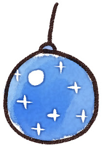 クリスマスの玉飾りのイラスト 青