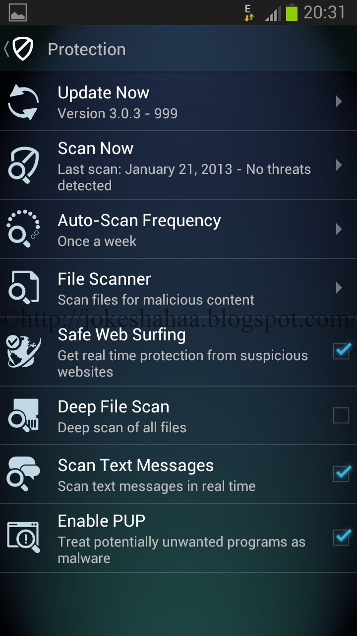 Safe Web Surfing_Deep File Scan_Scan Text Messages_Enable PUP_File Scanner_Auto-Scan Frequency_Scan Now_Update Now_Best Free Antivirus App for Android_AVG AntiVirus FREE for Android™_Antivirus Security - FREE_AVG Mobile technologies