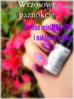 Wrzosowe paznokcie, Eveline miniMAX 954 i naklejka wodna