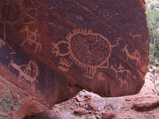Dominguez Canyon petroglyph mural of Ute hunters