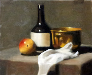 Oil painting of a plastic Corella pear with a bottle, a brass pot and a piece of white cloth.