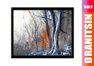 How to paint Snow Day Winter landscape painting with big detailed trees on abstract background, 107