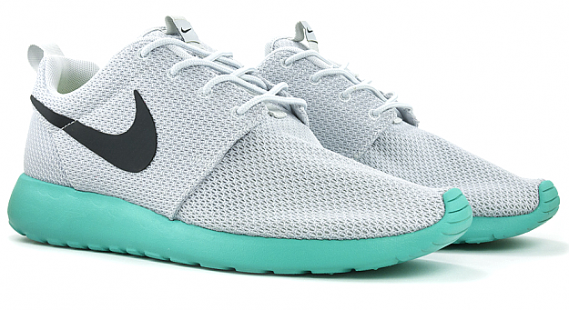 nike roshe run mens grey teal
