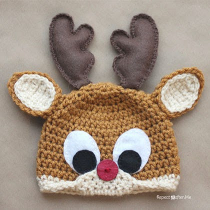 Crochet Rudolph the Reindeer Hat Pattern