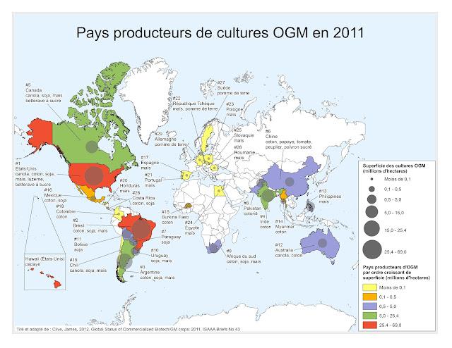 Les pays producteurs d'OGM en 2011