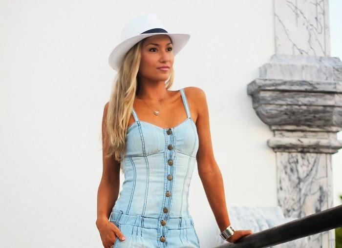 look do dia, ootd, outfit, denim playsuit, macacão de ganga, chapéu panamá, sandálias com fivela, nine west, calvin klein, cores pastel, primark, blanco, style statement, dicas de imagem, blogs de moda portugal, blogues de moda portugueses