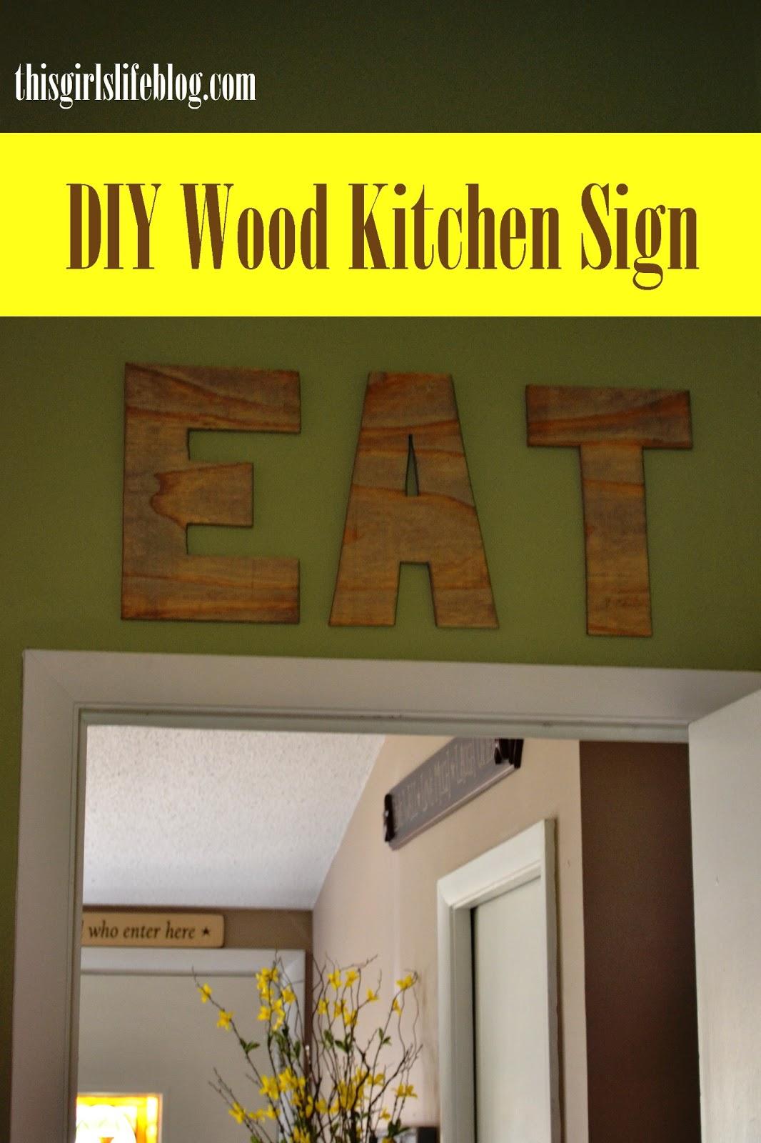 diy wood eat kitchen sign. Black Bedroom Furniture Sets. Home Design Ideas