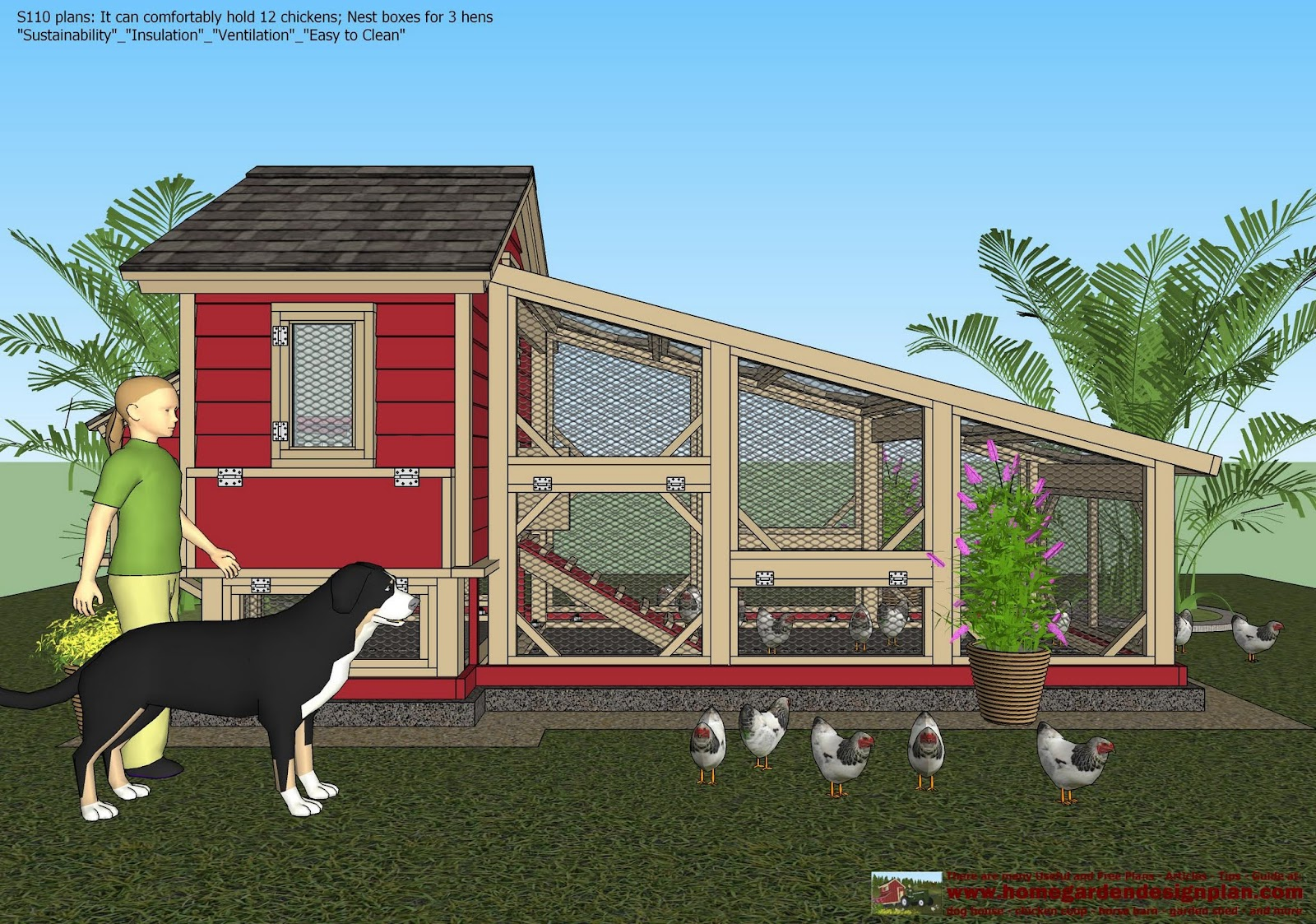Home garden plans s110 chicken coop plans construction for Plans for chicken coops