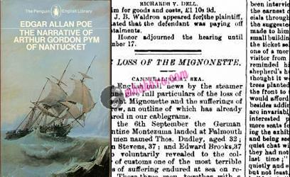 cover novel Edgar Allan Poe dan potongan berita Mignonette