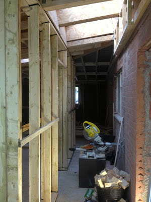 mitre-saw trapped in new corridor after the wall is built