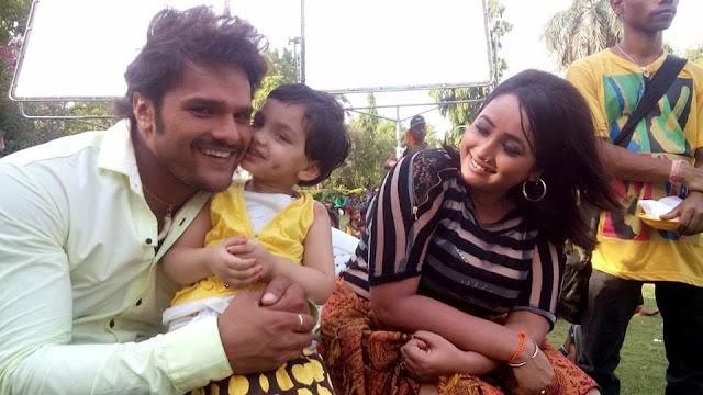 Khesari Lal Yadav & Rani Chatterjee Rani Masti on Set Jaanam