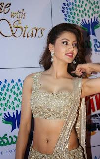 Actress Urvashi Rautela  Pictures in Designer Saree at Memu Saitam Dinner with Stars Red Carpet  60