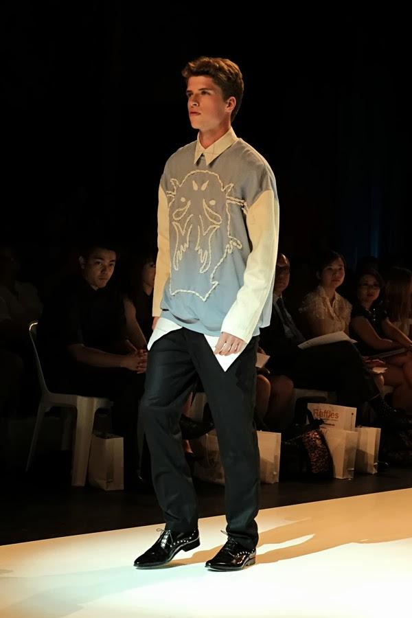 Vivienne Khong  bold appliqué on blue and white shirt- Menswear : Raffles Graduate Fashion Parade 2013 Photography by Kent Johnson.