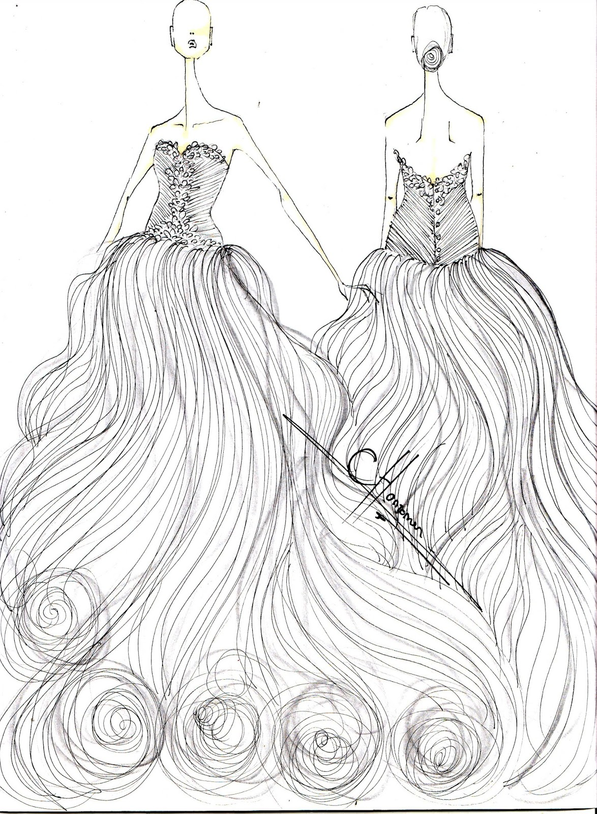 Amor: Wedding Gown Sketches for an April Bride