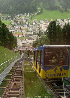 Passing the other car on the Schatzalp funicular above Davos, Switzerland