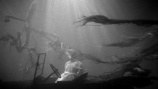 Dead woman in the water in The Night of the Hunter