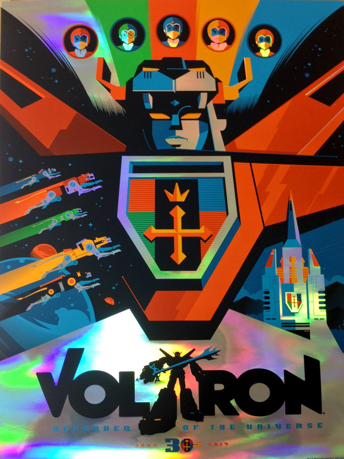 New York Comic Con 2014 Exclusive Voltron Holofoil Variant Screen Print by Tom Whalen