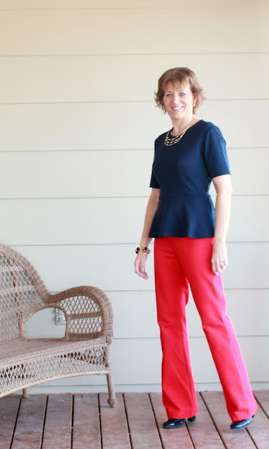 Ponte knit top and italian cotton pants