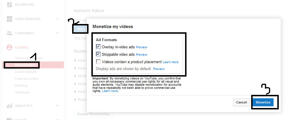 Pengaktifkan monetize pada video youtube