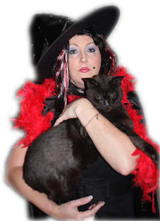 Halloween Witch with Black Cat