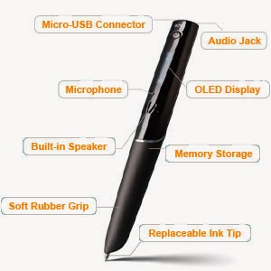 picture of a livescribe smartpen and its features including microphone, built in speaker, memory storage and led display
