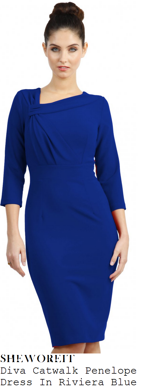 susanna-reid-bright-blue-draped-knot-detail-three-quarter-sleeve-pencil-dress-good-morning-britain