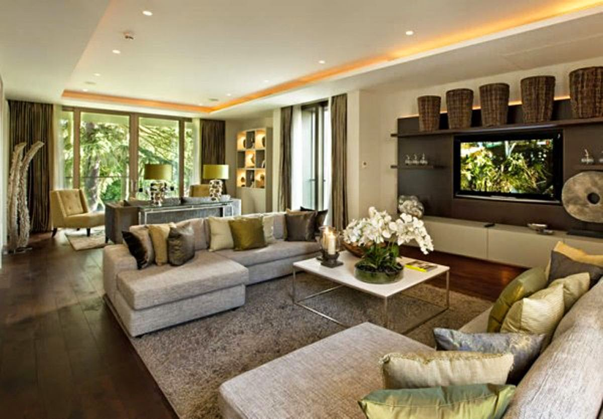 Home Design Ideas Family Room Modern Green White Natural