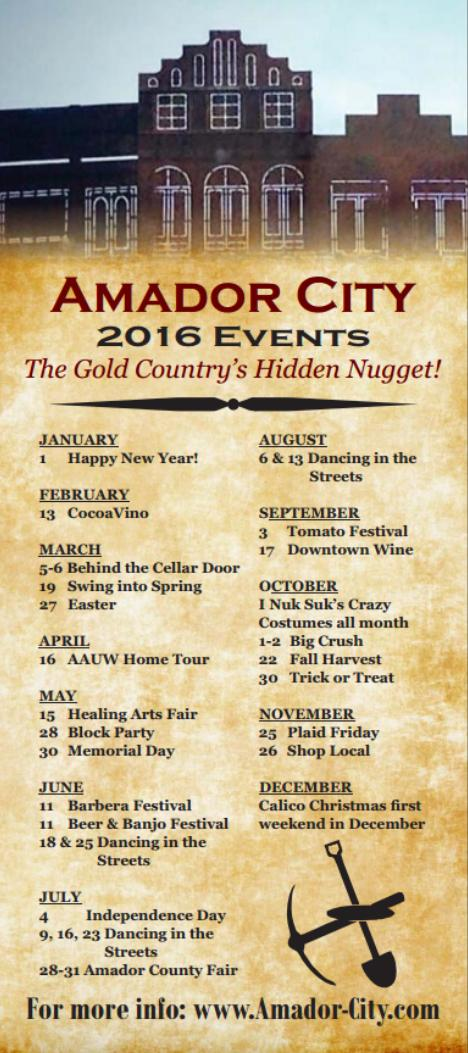 Amador City 2016 Events