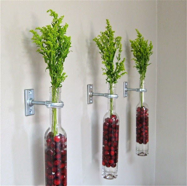 Scenic-Wall-Mounted-Glass-Bottles-with-Pretty-Floral-Berry-and-Foliage-Display-Tough-Metallic-Holder-Tiny-Screw
