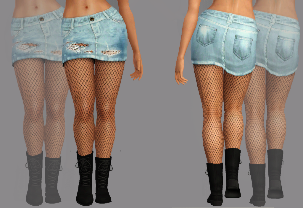 My Sims 3 Blog: Destroyed Denim Skirt! With and Without Suspenders ...