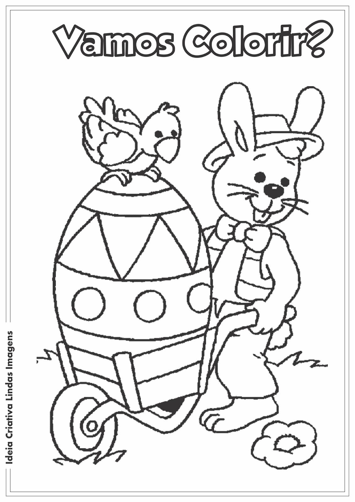 Páscoa Comercial desenho pra colorir