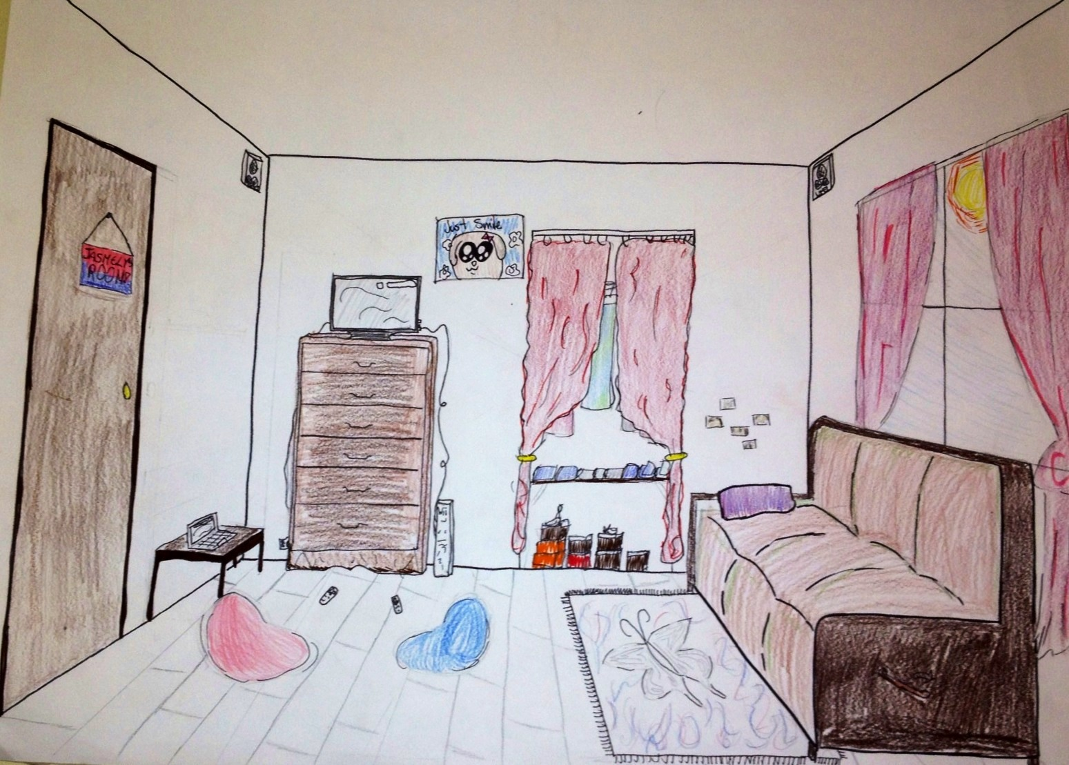 One point perspective living room drawing - Draw A One Point Perspective City And A Room